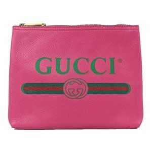 Gucci Vintage Logo Small Pink Leather Pouch